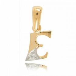 Wisiorek,złota literka z cyrkonią E