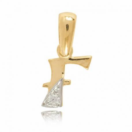 Wisiorek,złota literka z cyrkonią F