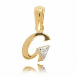 Wisiorek,złota literka z cyrkonią G