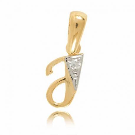 Wisiorek,złota literka z cyrkonią J