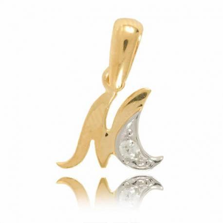 Wisiorek,złota literka z cyrkonią M