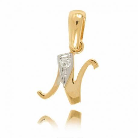 Wisiorek,złota literka z cyrkonią N