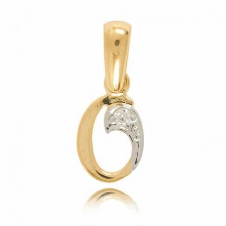 Wisiorek,złota literka z cyrkonią O