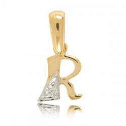 Wisiorek,złota literka z cyrkonią R