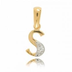Wisiorek,złota literka z cyrkonią S