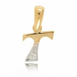 Wisiorek,złota literka z cyrkonią T