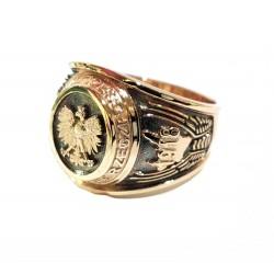 Sygnet złoty z orłem , patriotyczny