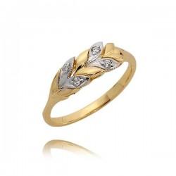Złoty pierścionek z listeczkami