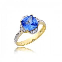 Złoty pierścionek P1752 z niebieskim kamieniem