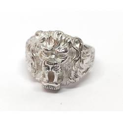 Srebrny sygnet,głowa lwa męski wzór 0,925
