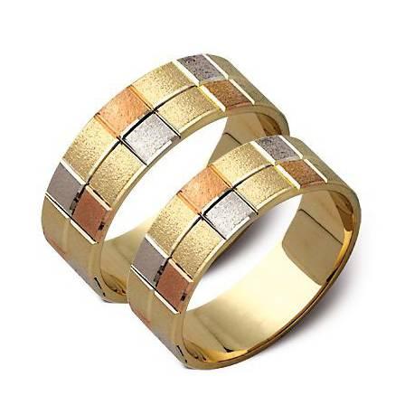 Ślubne złote obrączki, białe i żółte złoto ST43