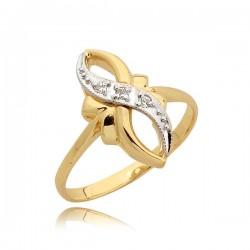 Złoty pierścionek z białym złotem model N41