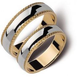 Złote obrączki 5mm białe i żółte złoto ST144