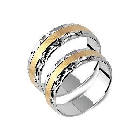 Obrączki z białego i żółtego złota ST167