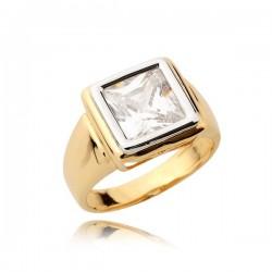 Złoty pierścionek z kwadratowym kamieniem