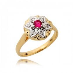 Śliczny pierścionek z czerwonym rubinem