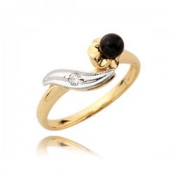Pierścionek złoty z czarna perłą