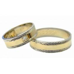 Obrączki, białe złoto i brylant,diamentowane