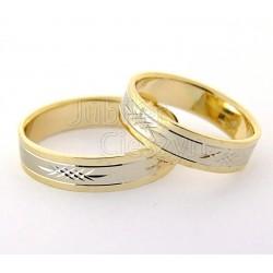 Ślubne złote obrączki,białe i żółte złoto