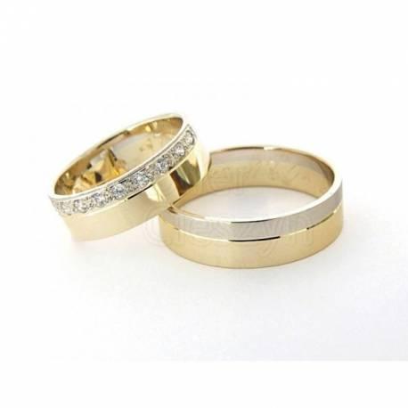 Obrączki z brylantami,białe i żółte złoto