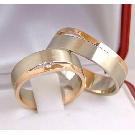 Złote,płaskie obrączki,czerwone i białe złoto