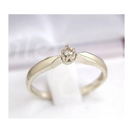 Klasyczny złoty pierścionek z brylantem,biały