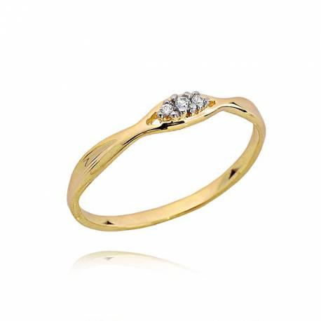 Pierścionek zaręczynowy,trzy brylanty 0,03ct