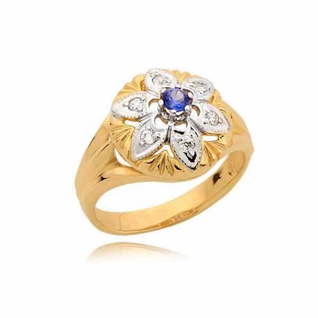 Piękny pierścionek z szafirem i cyrkonami