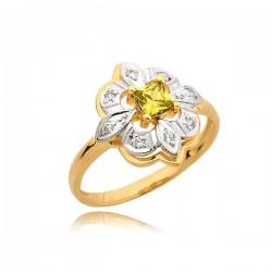 Śliczny złoty pierścionek z żółtą cyrkonią