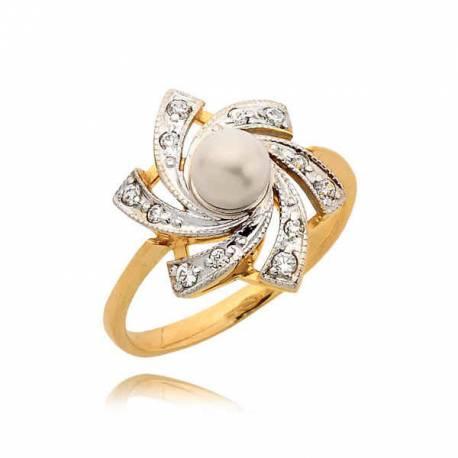 Efektowny pierścionek z cyrkoniami i prłą