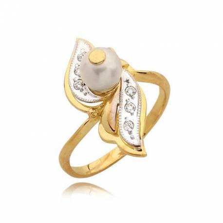Śliczny złoty pierścionek z cyrkoniami i perłą