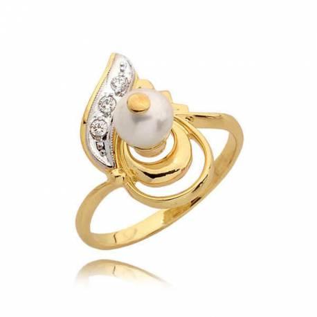 Śliczny złoty pierścionek z perełką
