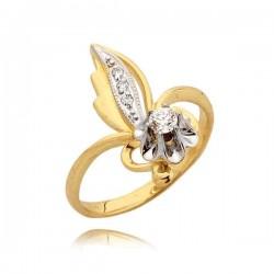 Pierścionek w kształcie kwiatka z cyrkoniami