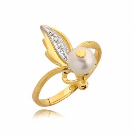 Efektowny złoty pierścionek z cyrkoniami i prłą