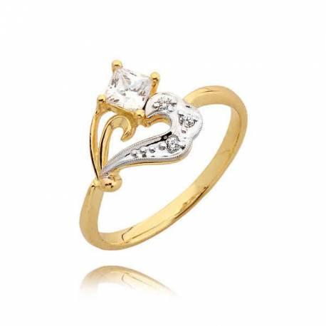 Orginalny złoty pierścionek z cyrkoniami w formie serduszka