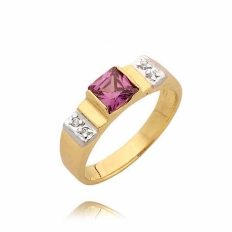 Śliczny pierścionek z różową cyrkonią