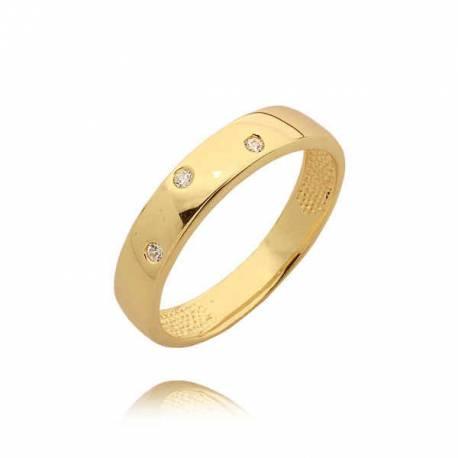 Złoty pierścionek z trzema cyrkoniami