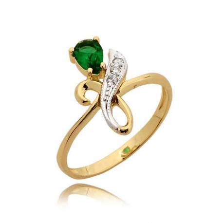 Delikatny pierścionek z zieloną cyrkonią
