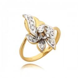 Orginalny złoty pierścionek w formie kwiatka
