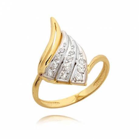 Orginalny pierścionek z żółtego i białego złota