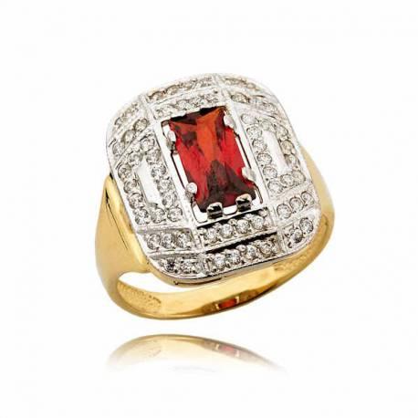 Śliczny pierścionek w formie sygnetu z rubinem