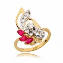 Złoty pierścionek z trzema różowymi cyrkoniami