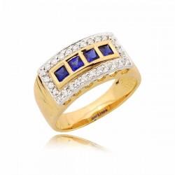 Prześliczny pierścionek z czterema szafirami