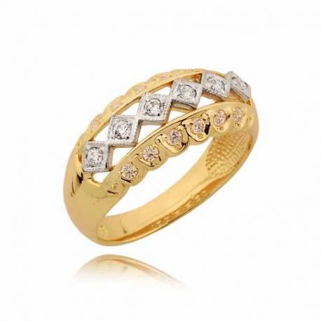 Orginalny złoty pierścionek z żółtego i białego złota