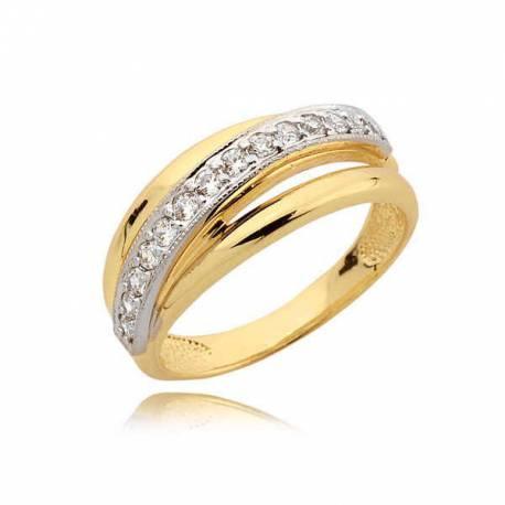 Ładny złoty pierścionek z cyrkoniami