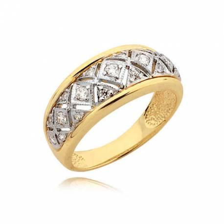 Elegancki złoty pierścionek z cyrkoniami