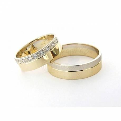 Obrączki, żółte i białe złoto z cyrkoniami.