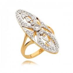 Śliczny złoty pierścionek bogato ozdobiony