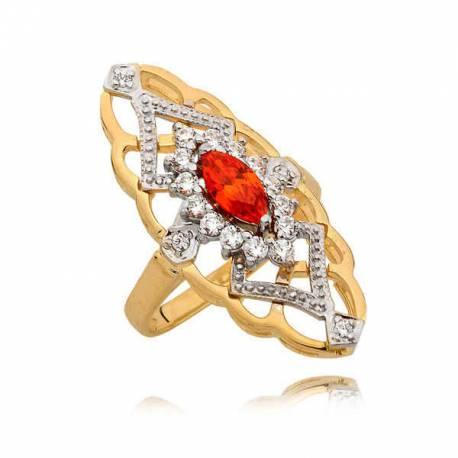 Pierścionek z rubinem w kształcie markizy