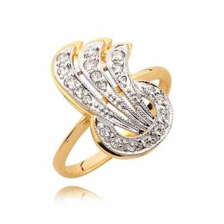 Imponujący złoty pierścionek z cyrkoniami